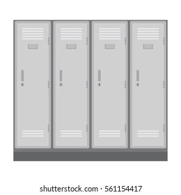 School or changing room lockers. vector illustration isolated on white background.