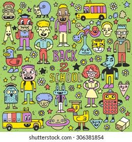 School Characters. Back to School Color Wacky Doodle Set. Hand Drawn Vector Illustration.