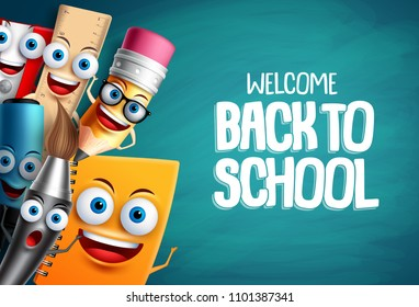 School characters vector education background. Back to school text with colorful funny cartoon mascots for educational design template. Vector illustration.