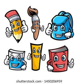 School characters vector illustration set