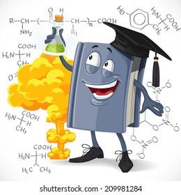 School chemistry textbook hold test-tube on detonation and formula background