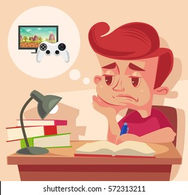 School child character do not want to do homework. Vector flat cartoon illustration