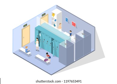 School children in changing or locker room after sport lesson. Girl sitting on the bench and waiting for friend dressing in clothes. Isolated vector isometric illustration