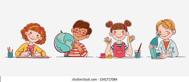 School children in the classroom at the lesson. Back to school vector illustration