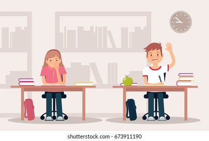 School children in classroom sitting at their desks and behaving differently. Elementary school pupil raising hand. Vector illustration.