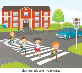 School children cross road on pedestrian crossing, near school building. Cartoon vector illustration