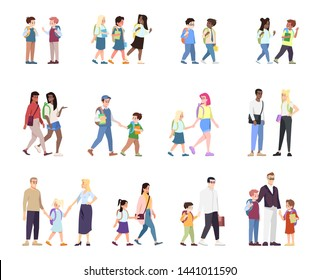 School children flat vector illustrations set. Multiracial and multicultural classmates cartoon characters isolated on white. Parents with schoolboys and schoolgirls. Schoolmates, school friends