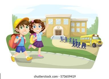 School children going to school and school bus arrived at school
