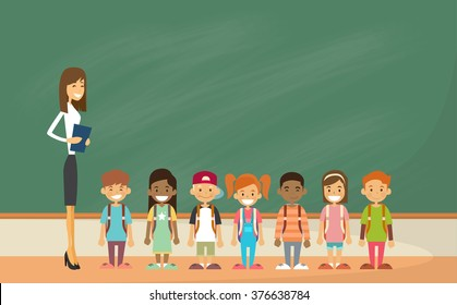 School Children Group With Teacher Classroom Green Board Flat Vector Illustration