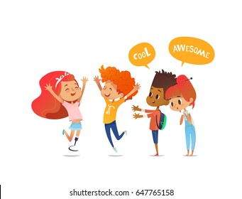 School children joyfully greet their friend with leg prosthesis. Amputee girl is glad to meet her classmates. Concept of happy meeting and true friendship. Vector illustration for poster, website.