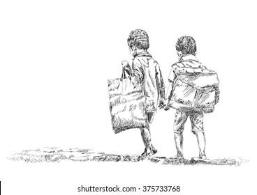 school children sketch