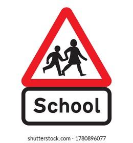 School children traffic sign. Red triangle warning road sign with two school children crossing inside. School zone symbol. Beware kids crossing road. Vector illustration.