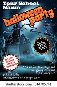 School childrens Halloween Party poster invite invitation or flyer with pumpkins and full moon and spooky castle, trees and tombstones