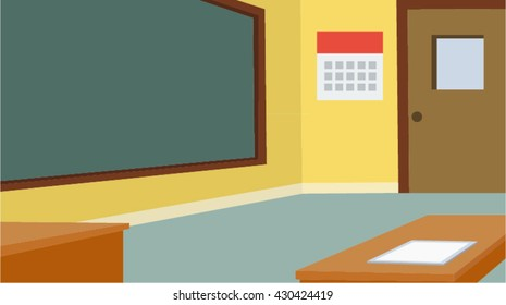 School classroom with chalkboard and desk