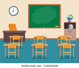 School classroom with chalkboard and desks. Class for education, courses or training. Vector illustration in flat style