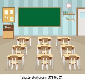School classroom with chalkboard and desks. Class for education, board, table and study, blackboard and lesson. Back to school kids,education concept