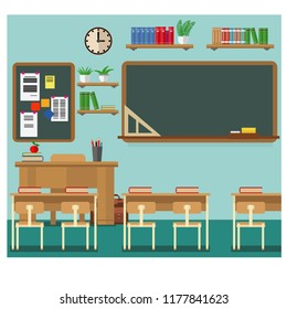 School classroom with chalkboard and desks. Classroom for learning, vector illustration set.