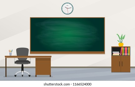 School classroom with chalkboard and teachers desk. Study class with blackboard. Vector illustration.