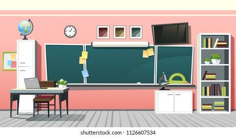 School classroom class room interior vector illustration background