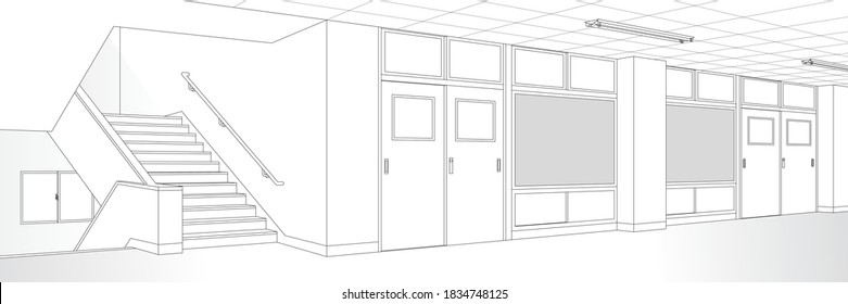 School classroom and Corridor and Stairs / Monochrome background material for comic books