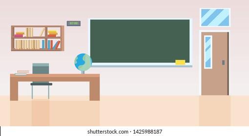 school classroom with furniture empty no people class room interior flat horizontal