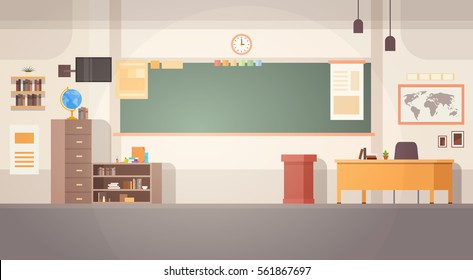 School Classroom Interior Board Desk Banner Flat Vector Illustration