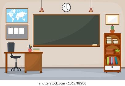 School Classroom Interior Room Blackboard Furniture Flat Design Vector