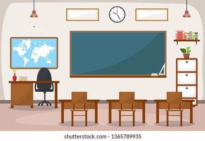School Classroom Interior Room Blackboard Furniture Flat Design Vector