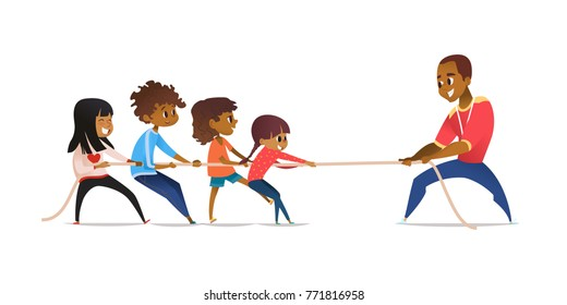 School coach and laughing children pulling opposite ends of rope. Tug of war competition between physical education teacher and kids. Concept of unity and solidarity. Cartoon vector illustration.