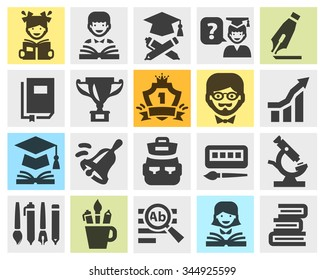 school, college, education set black icons. signs and symbols