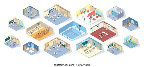 School or college interior with library, gym, lecture room and dining hall. Children studying in classroom. Isolated isometric vector illustration