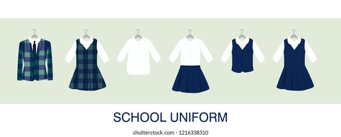 School or College Uniforms on Hangers. Kids Clothes Vector Set
