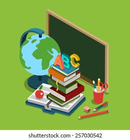 School college university education flat 3d web isometric infographic concept vector. Chalkboard globe heap books ABC apple set of objects.