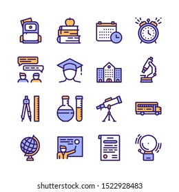 School color vector linear icons. Education outline illustrations pack. Microscope, backpack, globe pictograms. Books, timetable, telescope. School subjects. Learning thin line isolated symbols pack