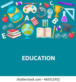 School colored composition with icon set on school elements and attributes themes vector illustration