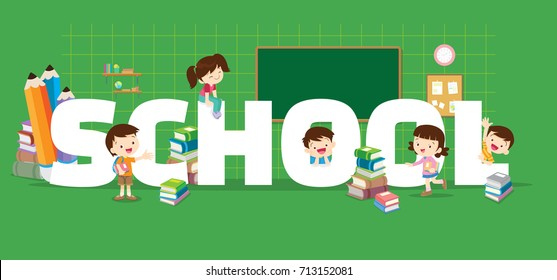 School concept illustration. Students Boy and Girl Reading and learning various actions with elements ,Books, chalk board around big Letter.