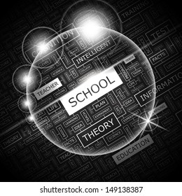 SCHOOL. Concept vector illustration. Word cloud with related tags and terms. Graphic tag collection. Wordcloud collage.