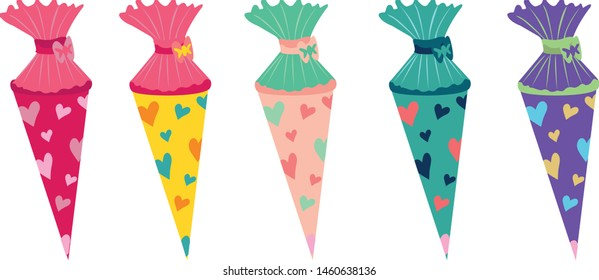 School cone vector illustration decorated with hearts, colorful