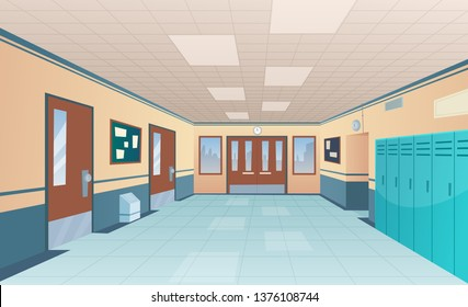 School corridor. Bright college interior of big hallway with doors classroom with desks without kids vector cartoon picture