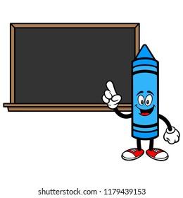 School Crayon with a Blackboard - A vector cartoon illustration of a School Crayon with a Blackboard concept.