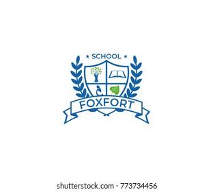 School Crest Logo Template. Education Vector Design. University Emblem Illustration