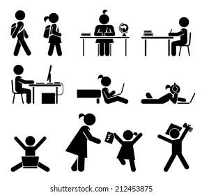 School days. Pictogram icon set. School children. Back to school. Vector set.