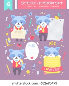 School design set with cute cartoon raccoon boy character and note stickers for children apparel and web templates