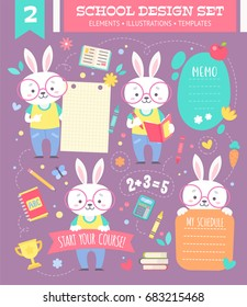 School design set with cute cartoon bunny boy character and note stickers for children apparel and web templates