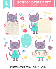 School design set with cute cartoon cat girl character and note stickers for children apparel and web templates