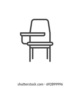 School desk chair line icon, outline vector sign, linear style pictogram isolated on white. Symbol, logo illustration. Editable stroke. Pixel perfect vector graphics