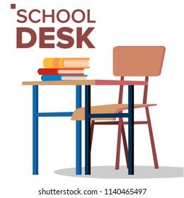 School Desk, Chair Vector. Classic Empty Wooden School Furniture. Isolated Flat Cartoon Illustration