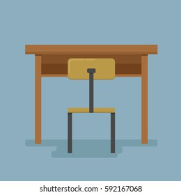 School desk and a chair. Vector flat color illustration isolated on blue background.