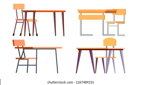 School Desk Set Vector. Chipboard, Chir. Classic Empty Wooden And Metal Furniture. Isolated Cartoon Illustration