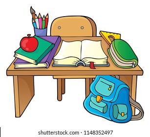 School desk theme image 1 - eps10 vector illustration.